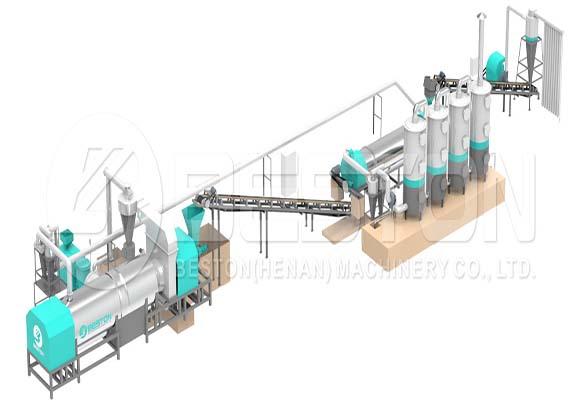 Máquina Horno Metálico Pirólisis de Biomasa